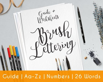 Brush Lettering Worksheets | 27 practice sheets | guide for Beginners | Modern Hand Lettering workbook | Printable | Learn calligraphy | B6