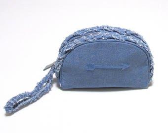 Swaraj Bag ARROW embroidery Dungarees porch - LIGHT denim BLUE make Purch