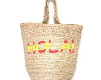 Swaraj Bag HELLO & LOGO tote bag - HOLA jute hemp beaded embroidered bag