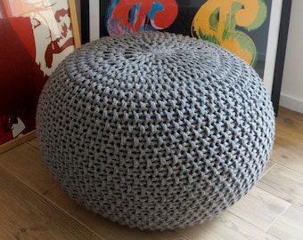 Knitted Pouf Poof, Ottoman, Footstool, Home Decor, Pillow, Bean Bag,