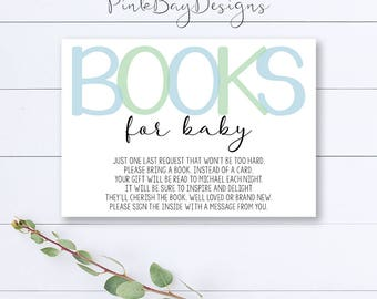 Blue And Green Books For Baby Insert, Baby Boy Books For Baby, Baby Shower Insert, Boy Books For Baby, Book Card