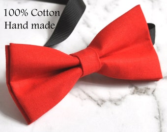 Unisex Men 100% Cotton Quality Bright Red Solid Color Handmade Bow Tie Bowtie Craft Wedding Party