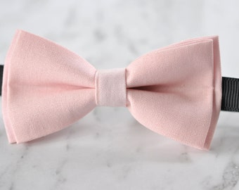 Unisex Men 100% Cotton Quality Baby Pink Solid Color Handmade Bow Tie Bowtie Craft Wedding Party