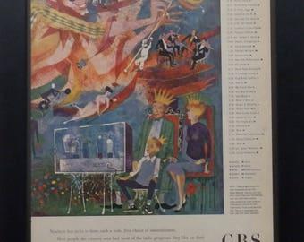 CBS Radio Network, Vintage Ad, 1951, Illustration, David Stone Martin,  Radio Marketing, Jack Benny, Arthur Godfrey, Radio Programing