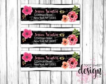 Lipsense Address Labels, Lipsense by Senegence Return Label Stickers, Lipsense Distributor Custom Mailer Tags, Black White Stripe Floral