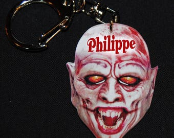 personalized name or text vampire head key chain