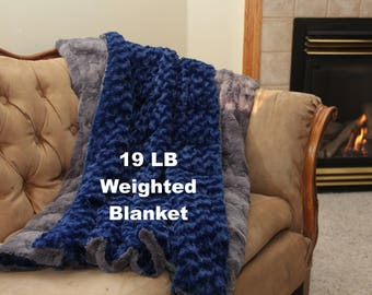 19 Lb Weighted Blanket Adult, Weighted Blanket for Adult, Sensory Blanket, Autism Blanket, Anxiety Blanket, Therapy Blanket, Minky Blanket