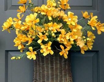Yellow Cosmos Door Basket