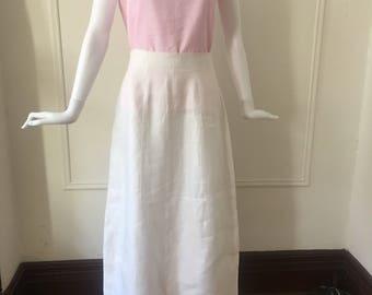 DKNY minimal white linen skirt M