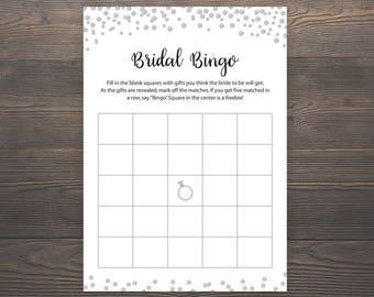 Silver Bridal Shower Games, Bridal Bingo, Printable Bingo Cards, Blank Bridal Bingo, Wedding Shower Bingo Game, Bridal Shower Bingo, J014