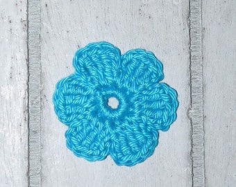 Flower - turquoise - patches - crochet - application