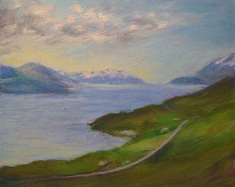 ICELAND Art in SERENE Blue Inlet with LUSH Green Vegetation in Original 8 x 10 pastel painting by Sharon Weiss