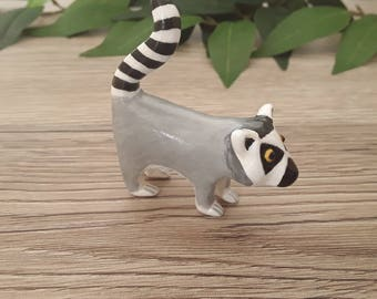 Ring tailed lemur miniature handmade hand painted polymer clay figurine totem sculpture ornament