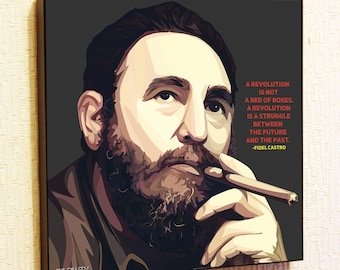Fidel Castro Cuba Pop Art Print  Poster Canvas Quote Gift with Frame