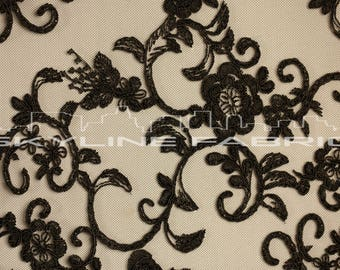 Black Floral Lace Fabric By The Yard