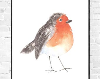 Original cute robin painting-Robin watercolor painting-bird painting-watercolor-colorful art-original watercolor zen-animal painting