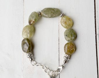Natural Green Garnet Beaded Bracelet, Handmade, Earth Inspired