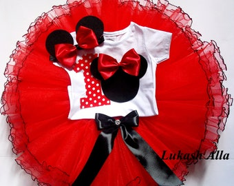 Minnie Mouse Birthday Outfit-Minnie Mouse Ears-Birthday Tutu Dress-First Birthday Outfit -Minnie Mouse 1st Birthday Outfit Shirt-TUTU set