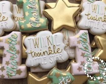 Twinkle Twinkle Little Star 1st birthday cookies - Pink gold & Mint - 1 Dozen