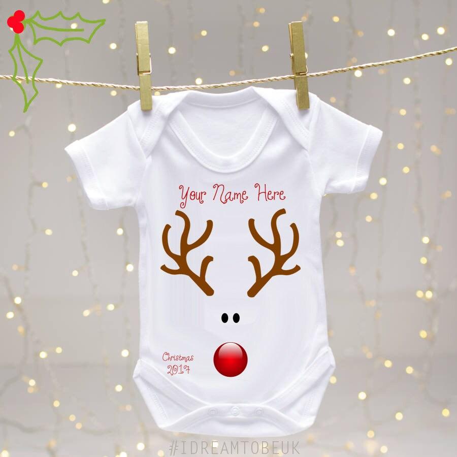 Personalised Baby Gifts Christmas Uk : Christmas personalised baby vest reindeer rudolf