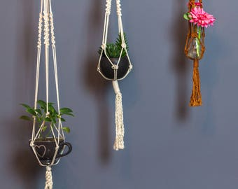 Macrame Plant Hanger. Garden and Balcony Decor. Ecofriendly Design. Handmade for Boho Urban Lifestyle. Geenery. Sustainably designer.