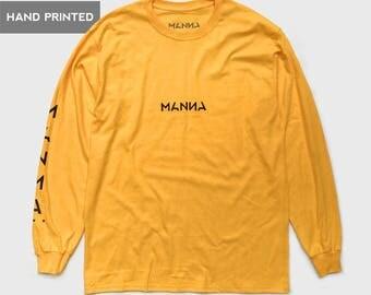Manna - Gold Yellow / Pochoir Long Sleeve T-Shirt. Supreme Style Box Logo, Traditional Stencil Screen Printed Crew Neck, Streetwear Fashion.
