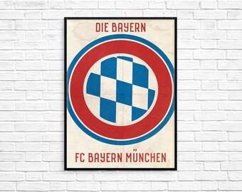 Bayern Munich Football Club Red Print Picture Art Poster Retro Style Print Munchen