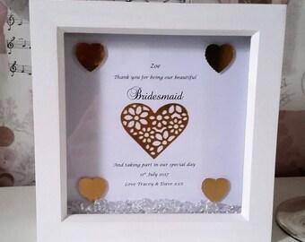 Personalised handmade bridesmaid box frame, wedding day, wall decor, thankyou gifts