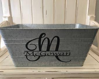 Beverage Tub- Home Decor-Housewarming Gift-Galvanized Tub-Barware-Drink Bucket-Metal Bucket-Wedding Gift-Monogrammed Beverage Tub