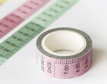 Washi tape with times! 5 meters long, pink and green