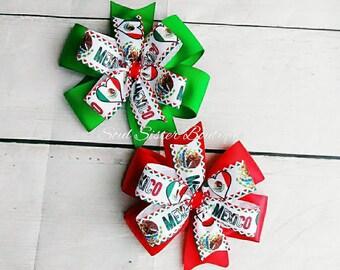 MÉXICO pinwheel hair bow, fiesta hair bow, México flag, stacked hair bow, cinco de mayo, Mexican hair bow, México, hair accessories, hairbow