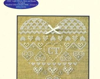 Natural linen fabric heart beads cross stitch Kit