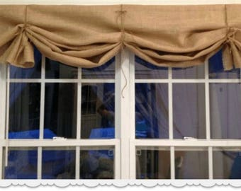 natural burlap valance with jute twine ties country farmhouse windows curtains panels covering rod pocket