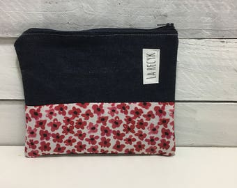 Small pouch, cosmetics, Red Raspberry, floral, cosmetics