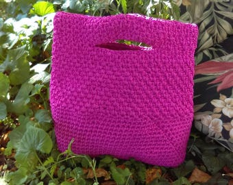 Handmade Crochet Handbag Fushia Purse Everyday Bag