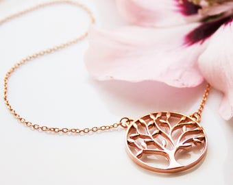 Tree of life necklace Rosé gold plated 925 sterling silver tree of life necklace