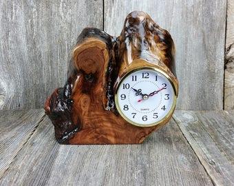 Redwood Burl Clock Table Shelf Mantle Desk Office Gifts for Men Sitting Wood #O