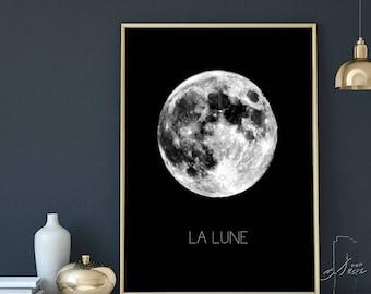 Black Moon Printable , La Lune Print , Moon Print , Moon Wall Art , Moon Wall Print , Digital Moon Print , Full Moon , Moon Printable, Decor
