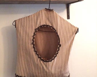 Antique Clothespin Bag On Wire Hanger | Farmhouse Laundry Room Decor