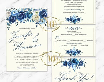 Blue Floral Wedding Invitation Template - INSTANT Download