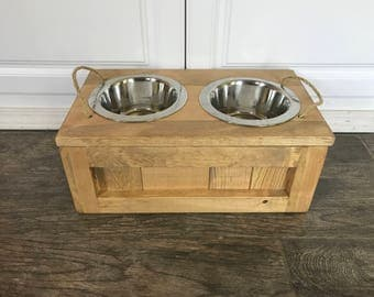 Small Raised Dog Bowl Stand With Storage Extra Small Dog Bowls Cat Food  Stand Dog Feeder