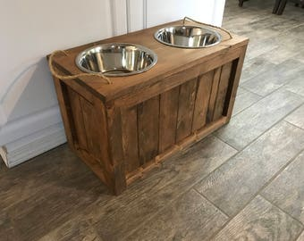 Raised Dog Bowl Stand With Storage Dog Bowls With Storage Dog Food Stand Dog  Feeder With