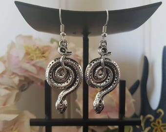 Tibetan Silver Snake Earrings