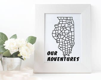 "Illinois - Our Adventures Vinyl Decal (11.1"" x 8"")"