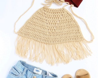 Bailey | Fringe | Halter Crop Top