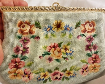 French Blue Needlepoint Small Handbag with Snake Strap / Flowers Purse