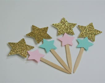 SHIPS FAST - 12ct Twinkle Twinkle Little Star Cupcake Toppers, Twinkle Birthday Decorations Handcrafted and Shipped in 1-3 Business Days