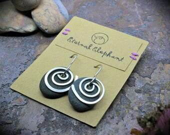 Lake Superior Stone Earrings with Stainless Steel Spiral