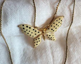 Goldtone Chain w/ Sliding Cream And Black Polka Dotted Enamel Sliding Butterfly Pendant