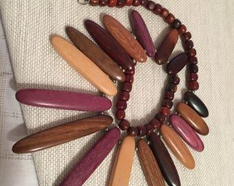 Wooden Beaded Bib Necklace